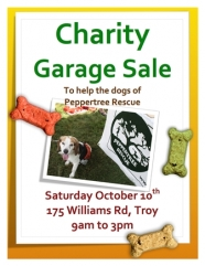 Charity garage sale to help the dogs of peppertree rescue!