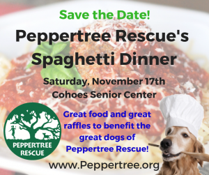 Spaghetti Dinner to benefit Peppertree Rescue @ Cohoes Senior Center